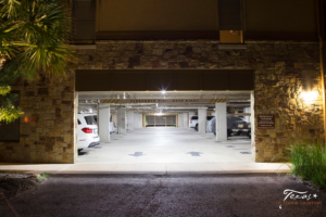 After Photo of a parking garage switching to LED lights in Horseshoe Bay Texas