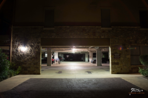 Before Photo of a parking garage using halogen lights in Horseshoe Bay Texas