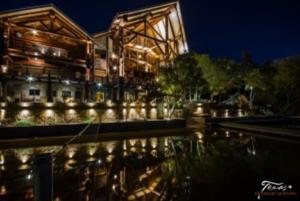 lake house outdoor lighting on Lake LBJ at Log Country Cove