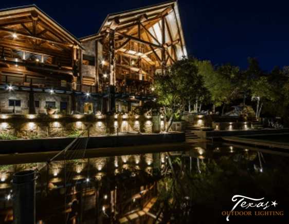 Lake House outdoor lighting on Lake LBJ at Log Country Cove