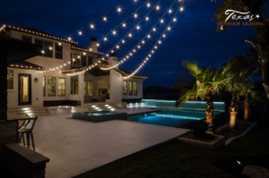 Cafe Bistro Lighting Outdoor Living Space Pool Lighting in Lakeway Texas
