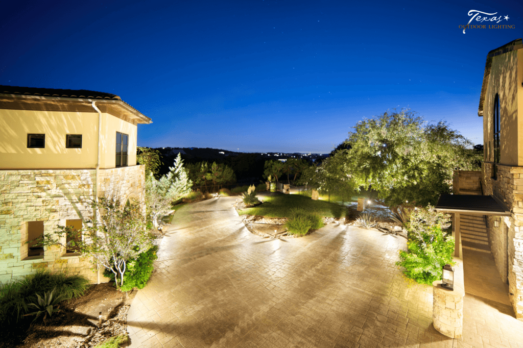 Driveway outdoor lighting providing safety and security Spicewood Texas