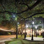 outdoor landscape lighting cafe lights Renaissance Austin Hotel gazebo lighting